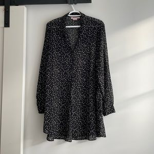 AdditionElle Black/white Sheer Blouse Tunic